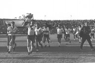 The Israel team celebrates their 1964 Asian Cup win