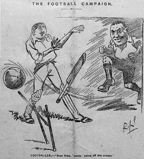 Cartoon on front page of The Athletic News, 26 August 1901.