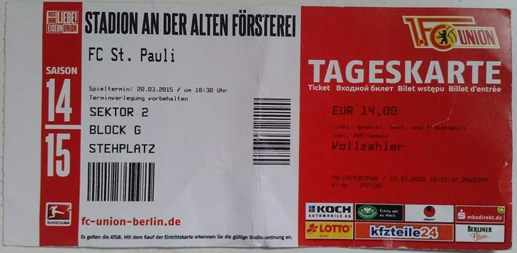 Union Berlin v St. Pauli Ticket