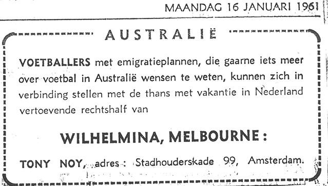 Advert 1961 for recruits to Wilhelmina (Sport en Sportweld 16 Jan 1961)